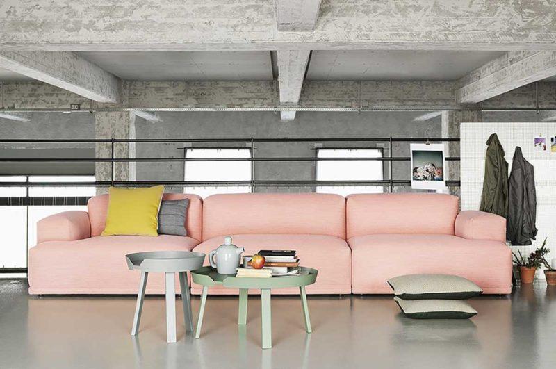 Canapé rose poudre style contemporain