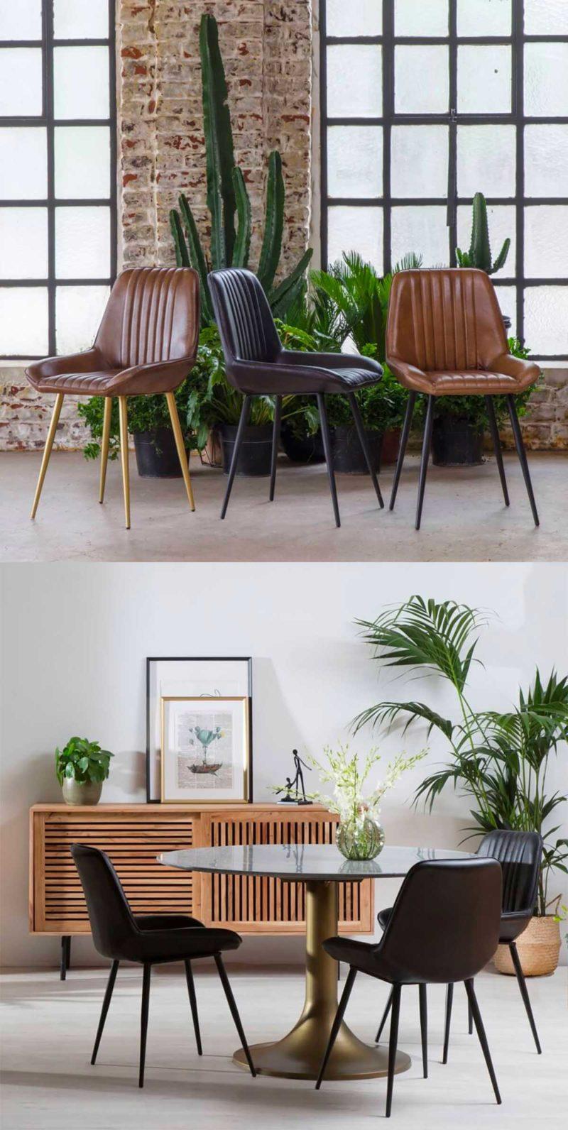 Chaise noire en cuir de buffle