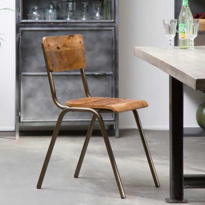 Chaise style écolier en métal et bois