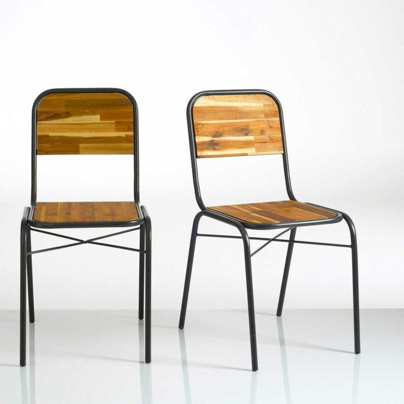 Chaise style lycée en métal et bois