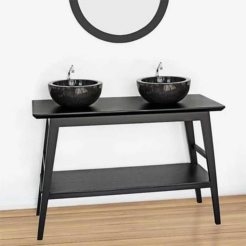 Console sous double vasque salle de bains en teck noir