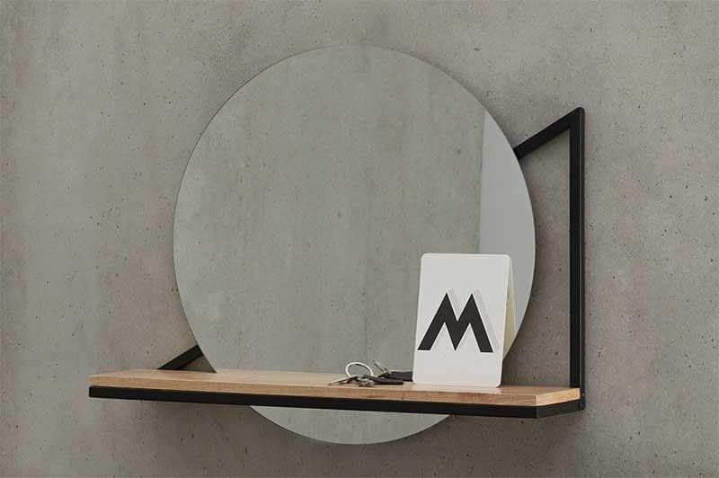 Étagère avec miroir circulaire
