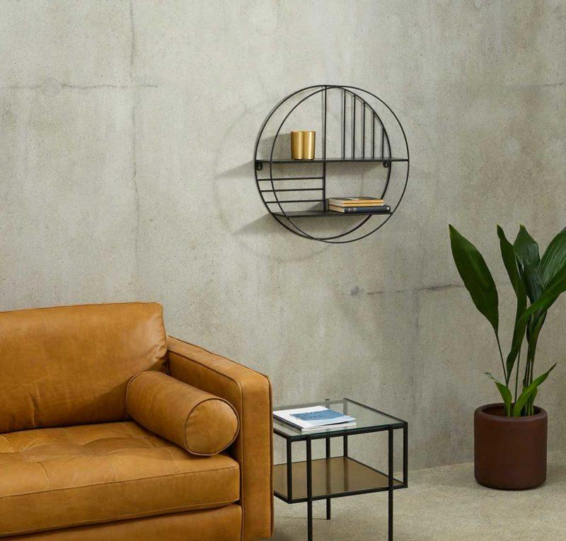 Étagère murale ronde design en métal