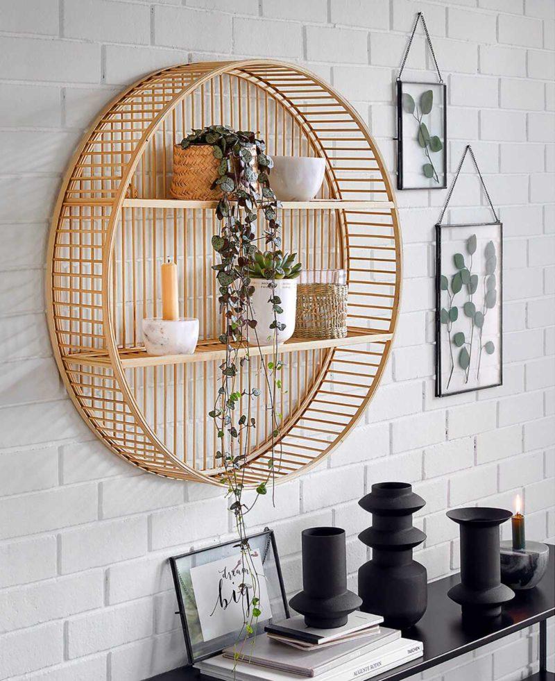 Étagère ronde en bambou
