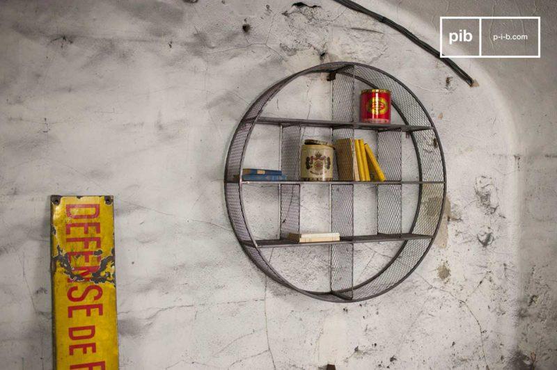 Étagère ronde en métal style industriel