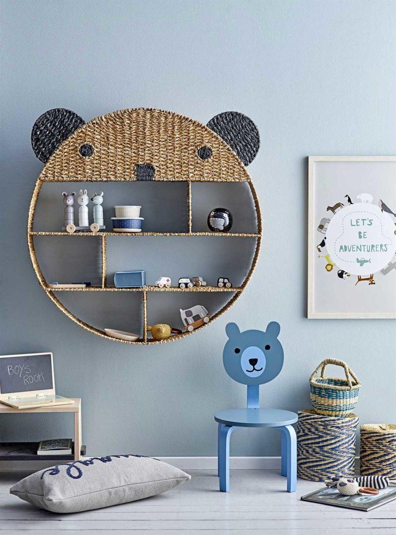 Étagère ronde panda pour chambre d'enfant