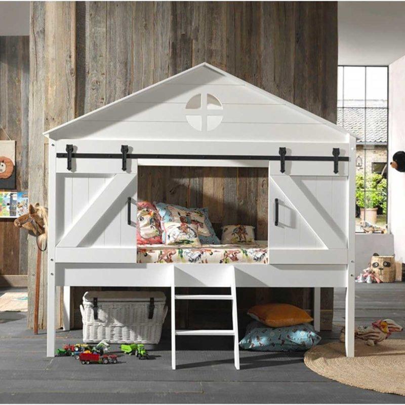 Lit cabane blanc mi-hauteur avec portes coulissantes