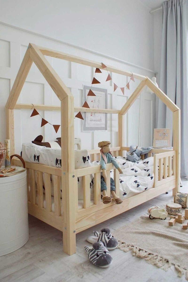Lit cabane pour enfant avec barrière