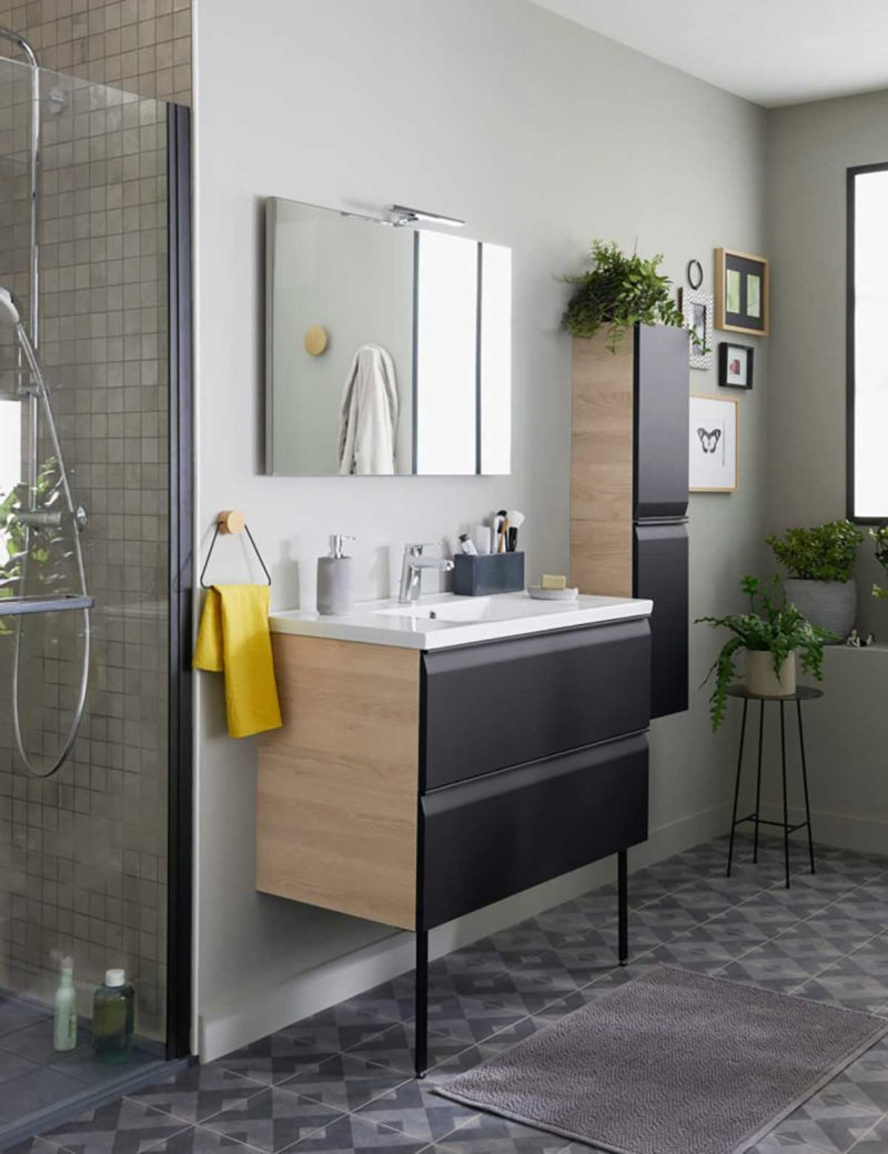 Meuble de salle de bains bicolore