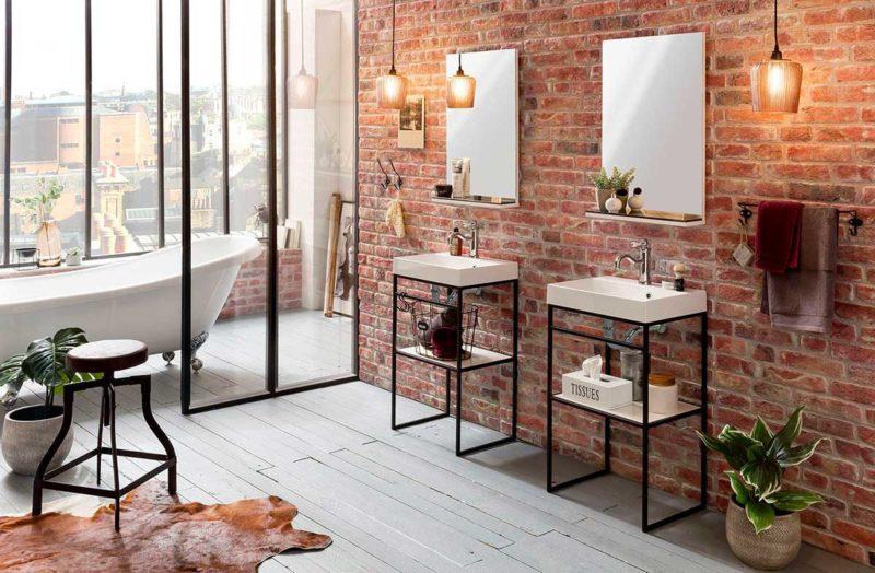 Meuble de salle de bains en métal noir avec vasque blanche