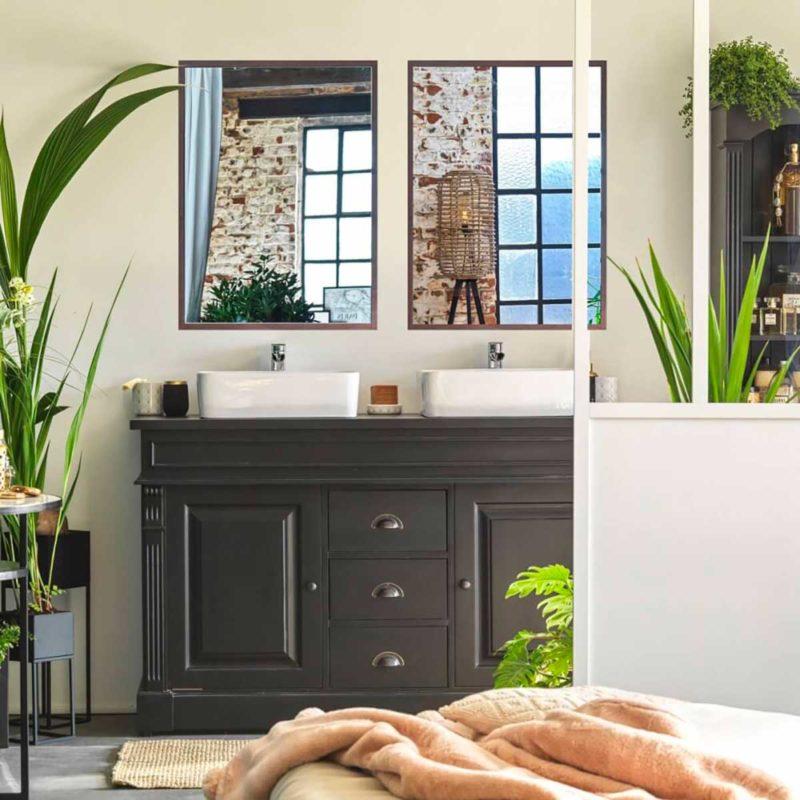 Meuble de salle de bains noir en bois massif