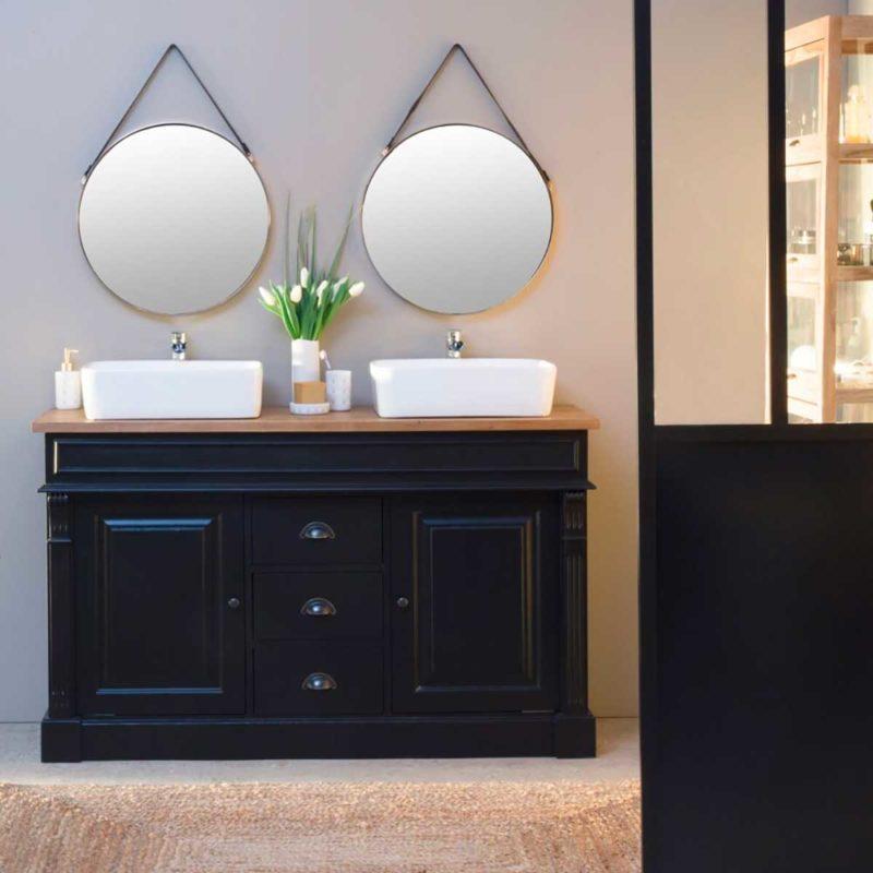 Meuble de salle de bains noir et bois