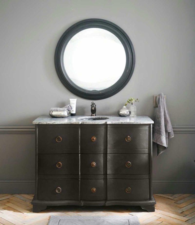 Meuble sous vasque classique noir et marbre blanc