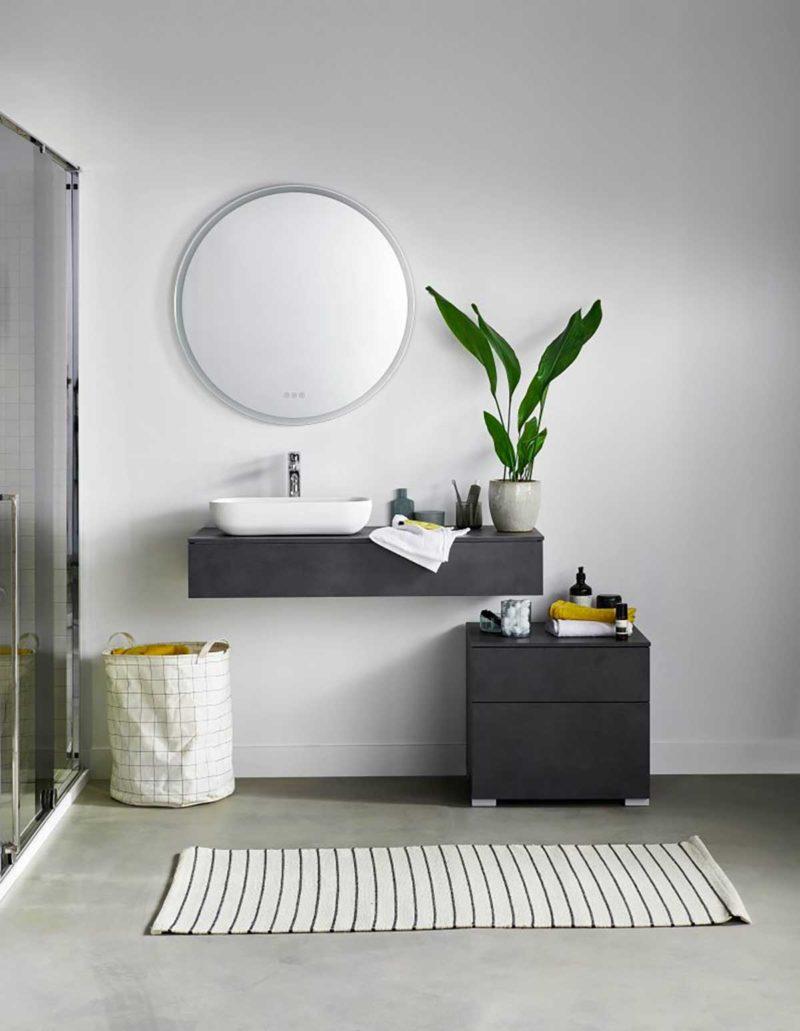 Meuble vasque noir suspendu pour salle de bains