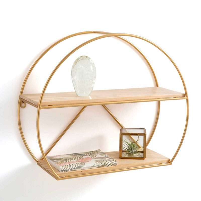 Mini étagère arrondie bois naturel et structure dorée