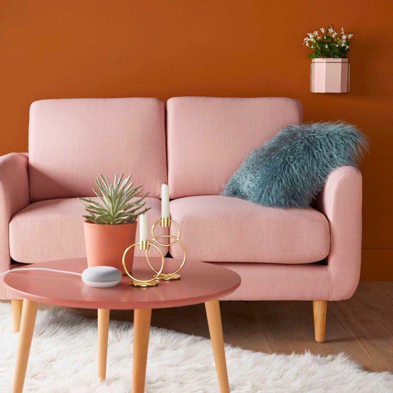Petit canapé scandinave deux places rose