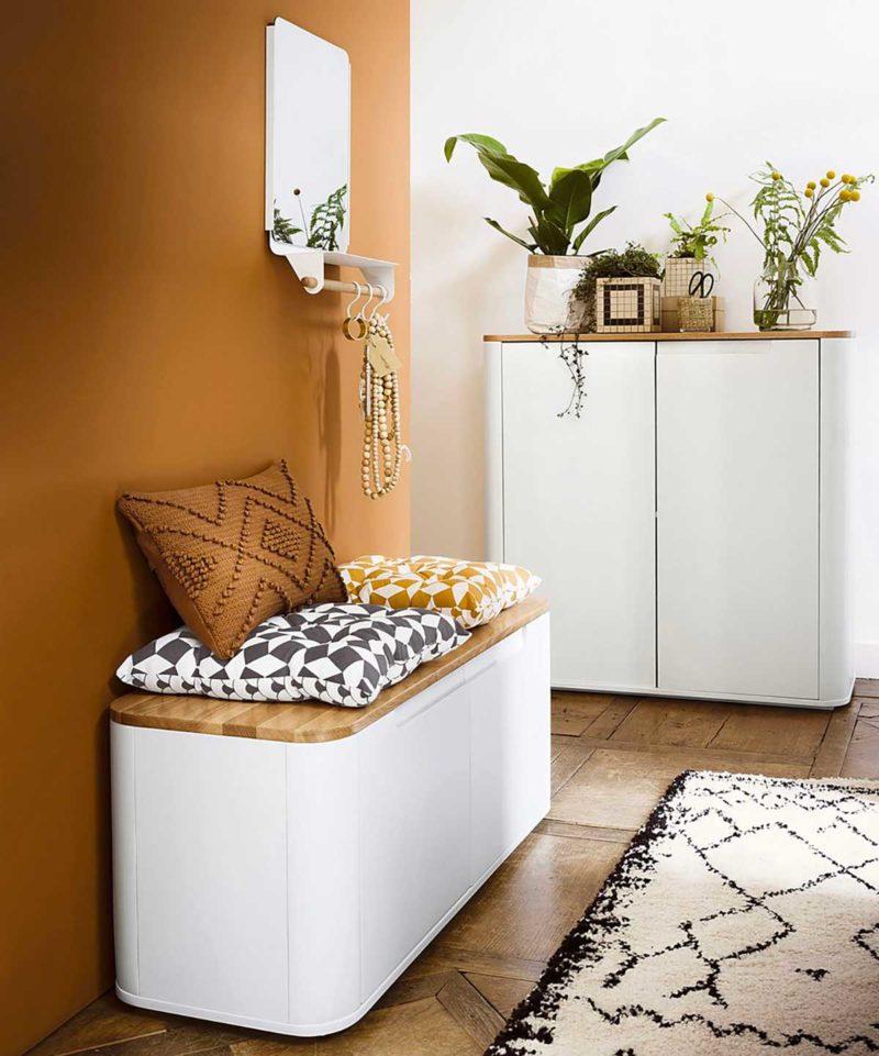 Petit meuble d'entrée blanc et bois