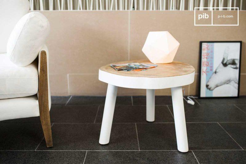 Petite table basse bois massif blanc