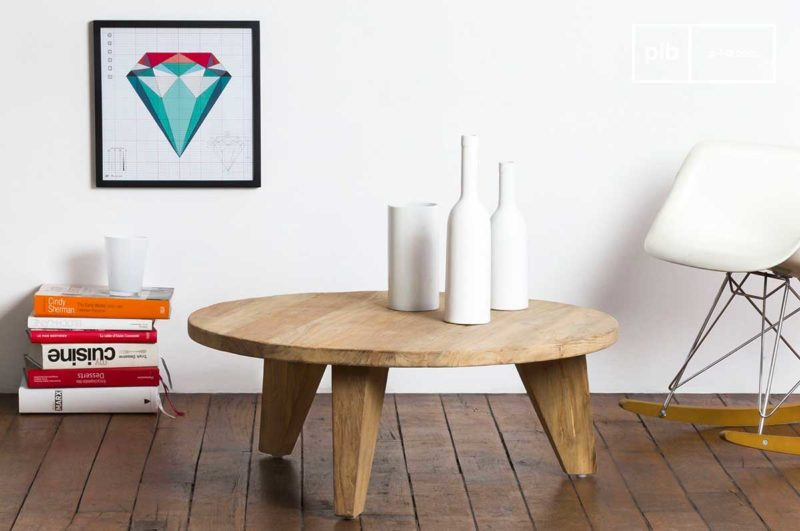 Table basse ronde en bois massif