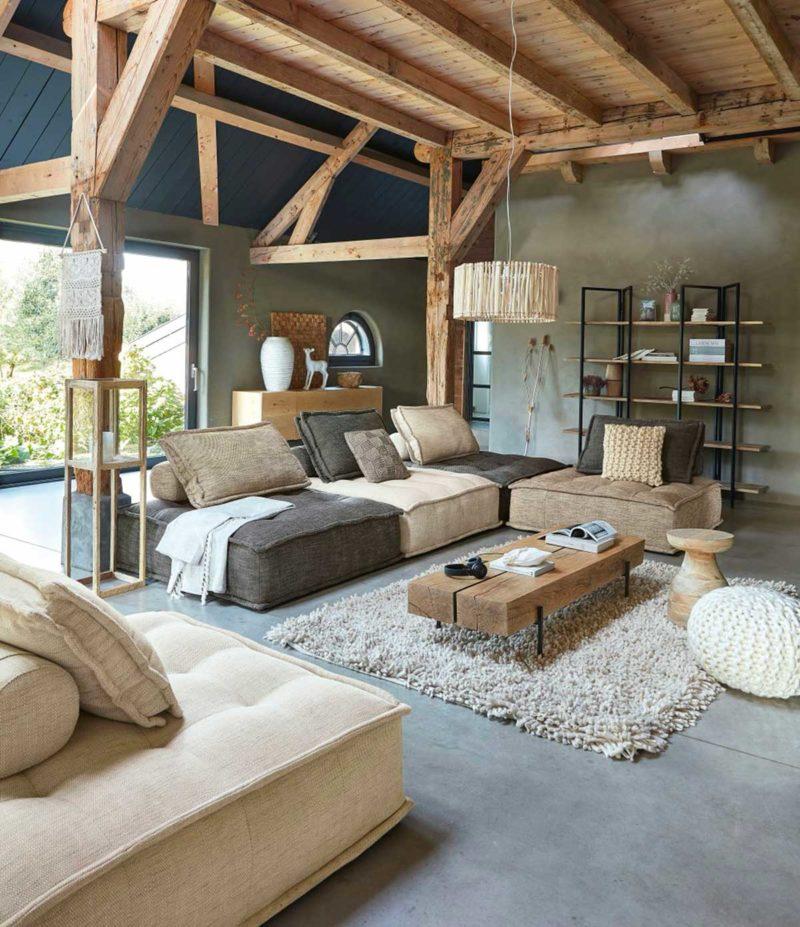 Table basse rectangulaire en bois massif naturel