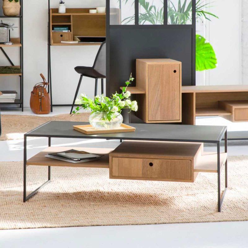 Table basse en métal et bois avec tiroir