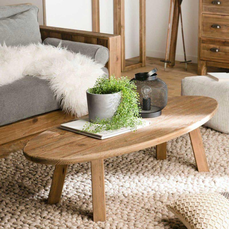 Table basse ovale en bois massif