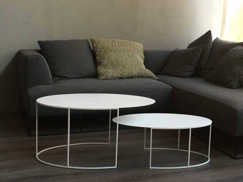 Table basse ovale gigogne en métal blanc