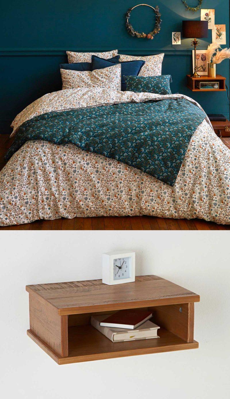 Table de chevet en bois à fixer au mur