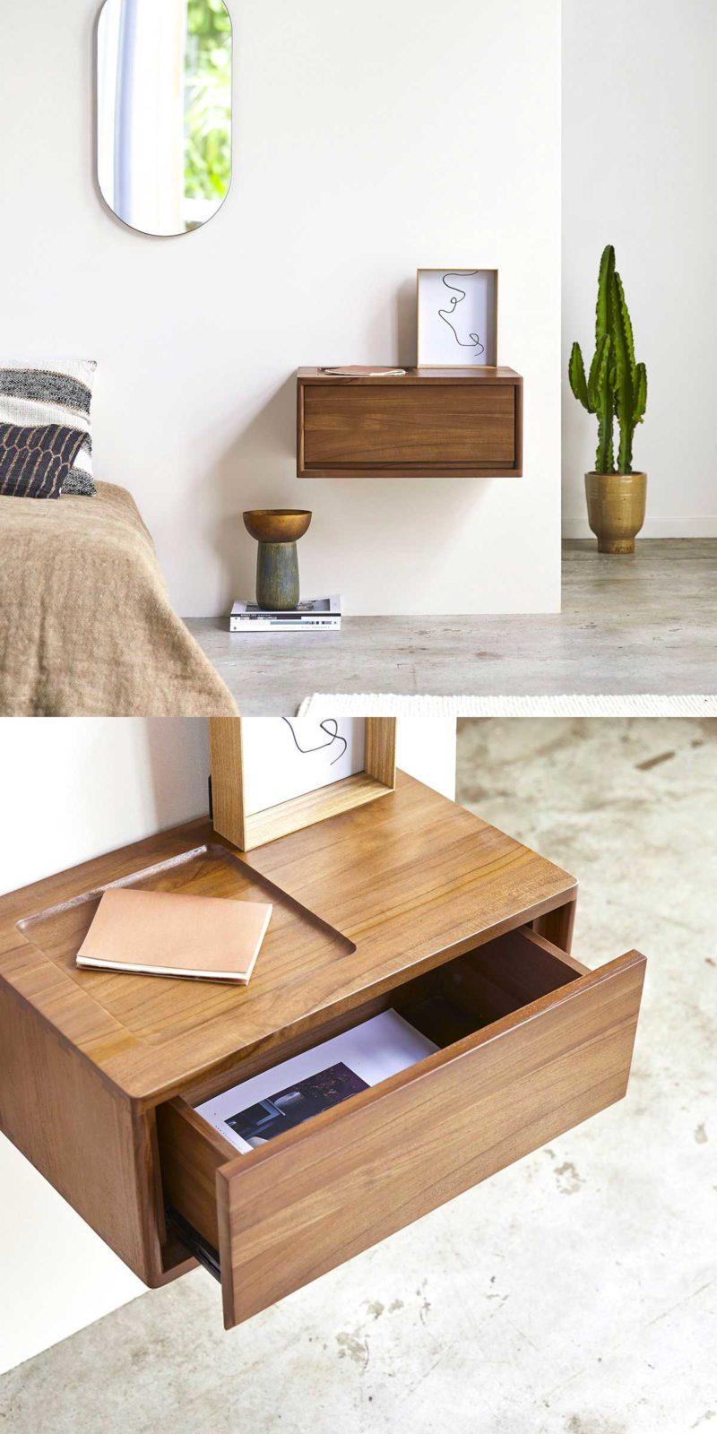 Table de chevet suspendue avec tiroir