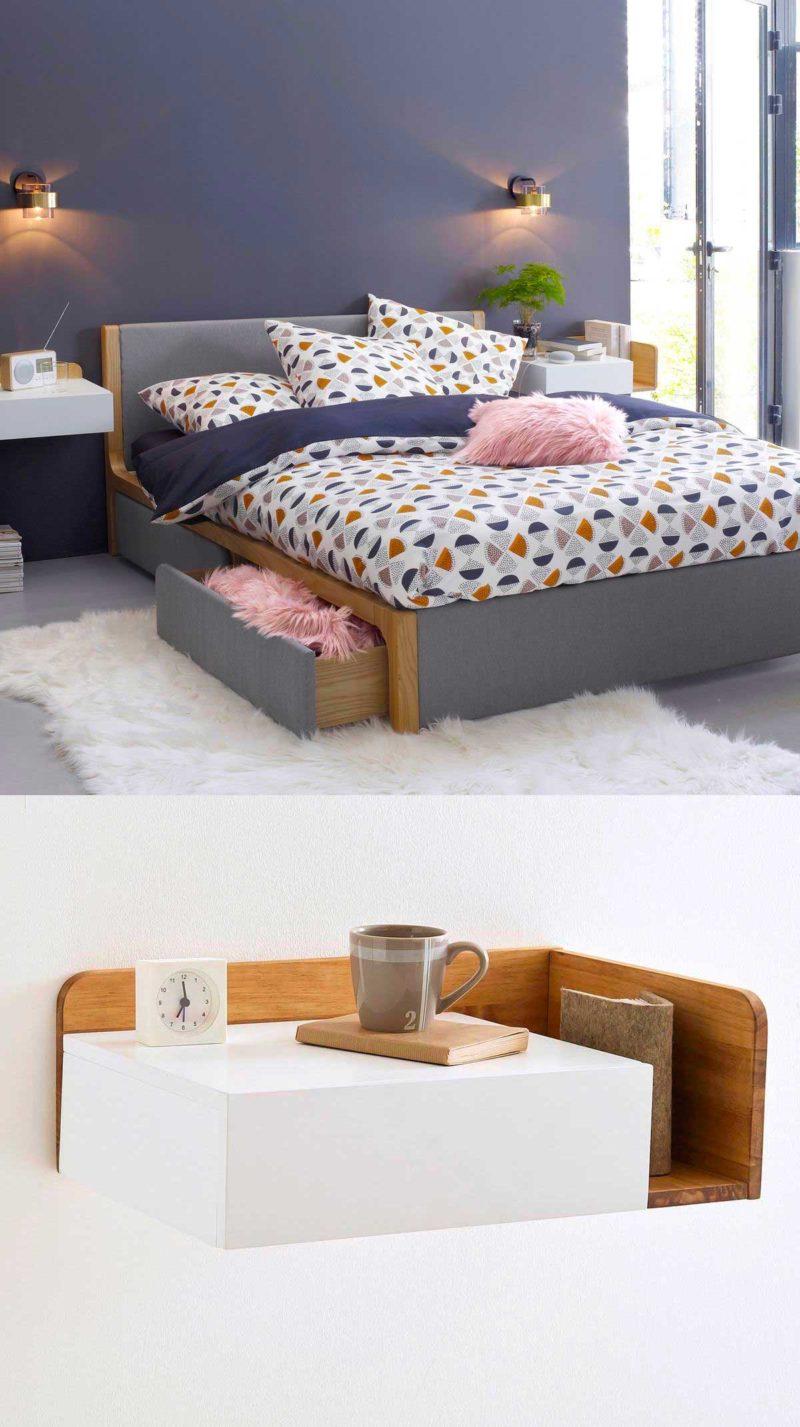 Table de chevet suspendue blanc et bois