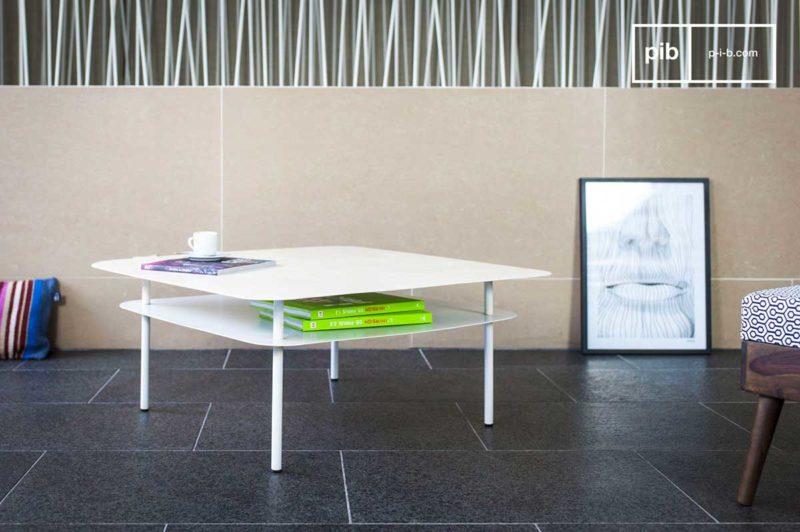 Table de salon en métal blanc