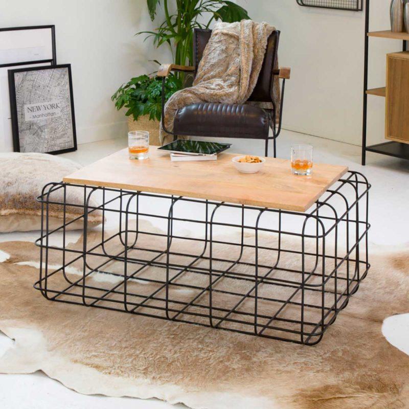 Table de salon originale en métal et bois
