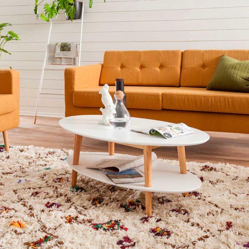 Table de salon ovale style scandinave bois et blanc