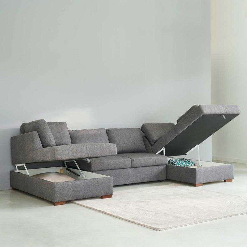 Canapé panoramique avec coffre de rangement