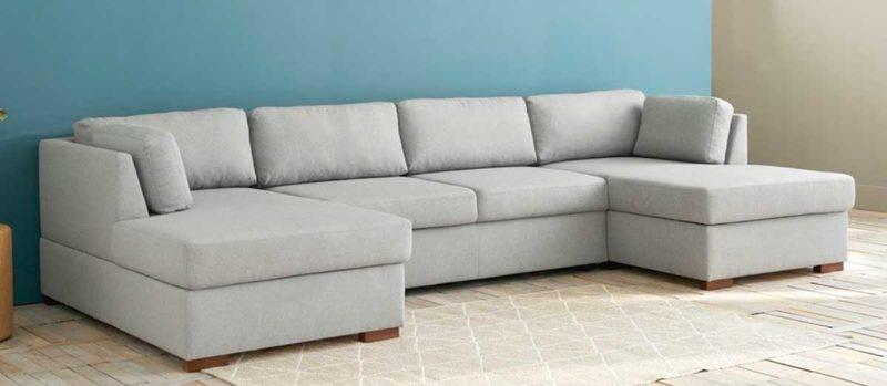 Canapé panoramique en tissu gris clair