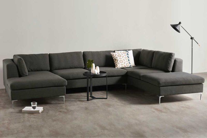 Canapé panoramique gris au design moderne