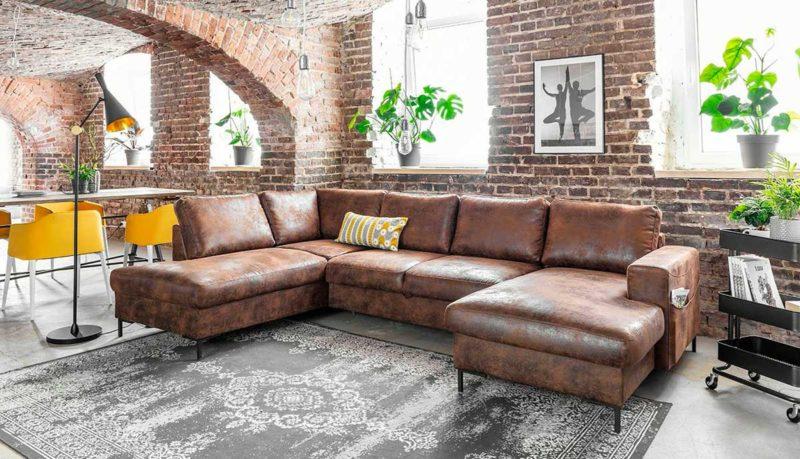 Canapé panoramique marron 8 places