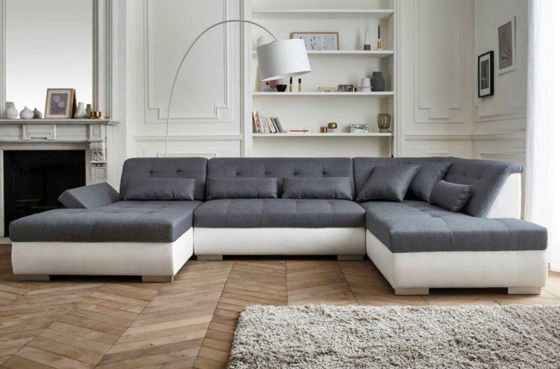 Canapé panoramique XXL gris et blanc