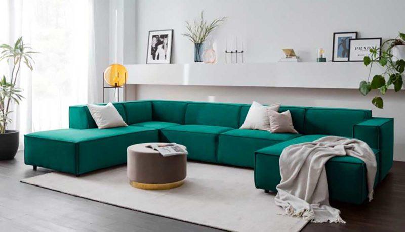Canape vert avec deux angles