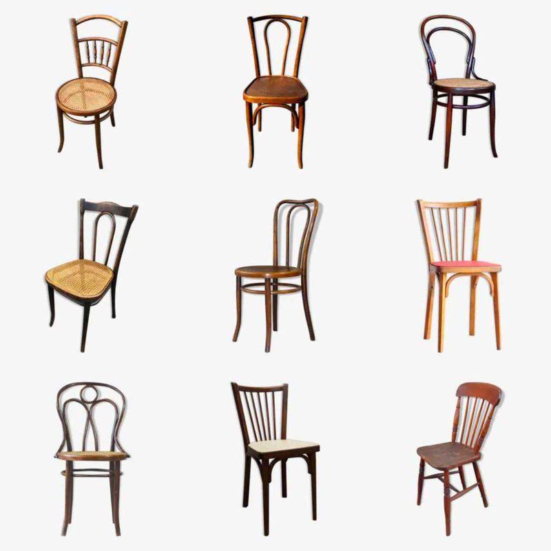 Chaise bistrot en bois vintage chez les antiquaires