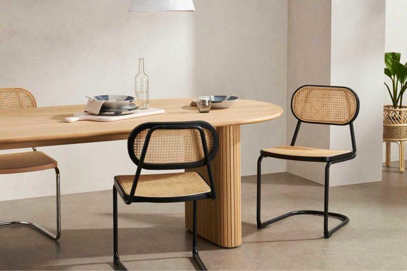 Chaise cannage métal et bois