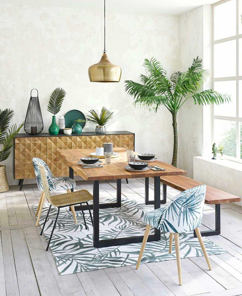 Chaise en tissu à motifs jungle