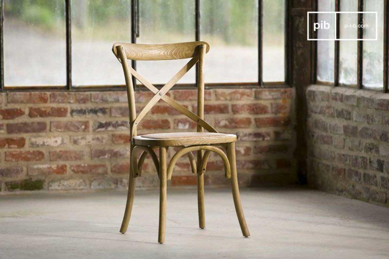 Chaise style vintage bois et cannage