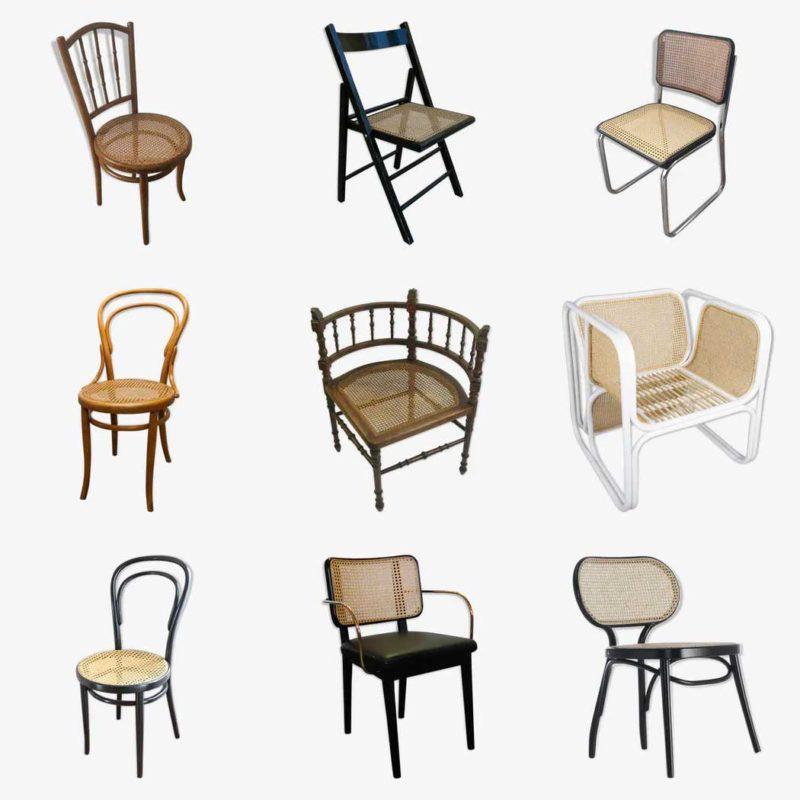 Chaise vintage en cannage d'occasion