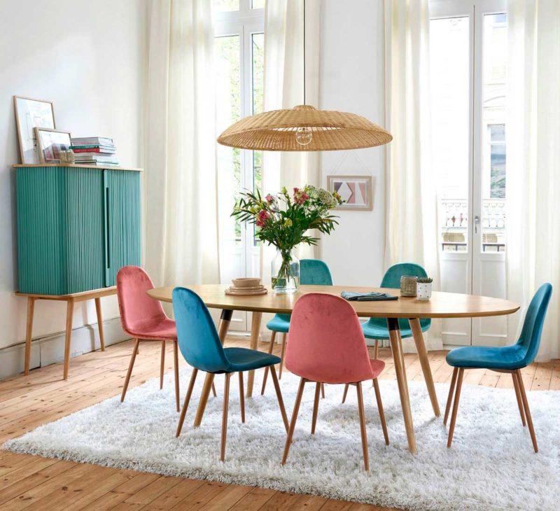 Grande table de salle manger ovale esprit vintage
