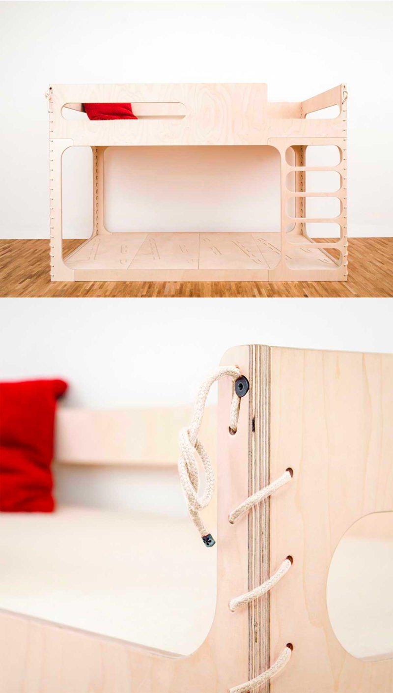 Lit superposé pour enfant au style moderne en bois