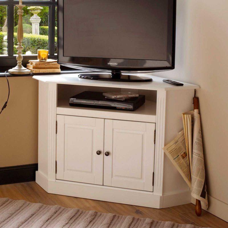 Meuble TV d'angle blanc