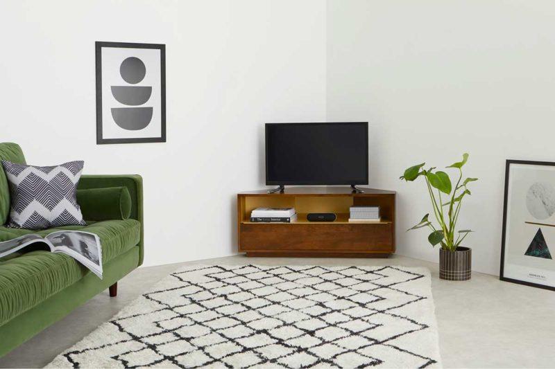 Meuble TV angle en bois foncé