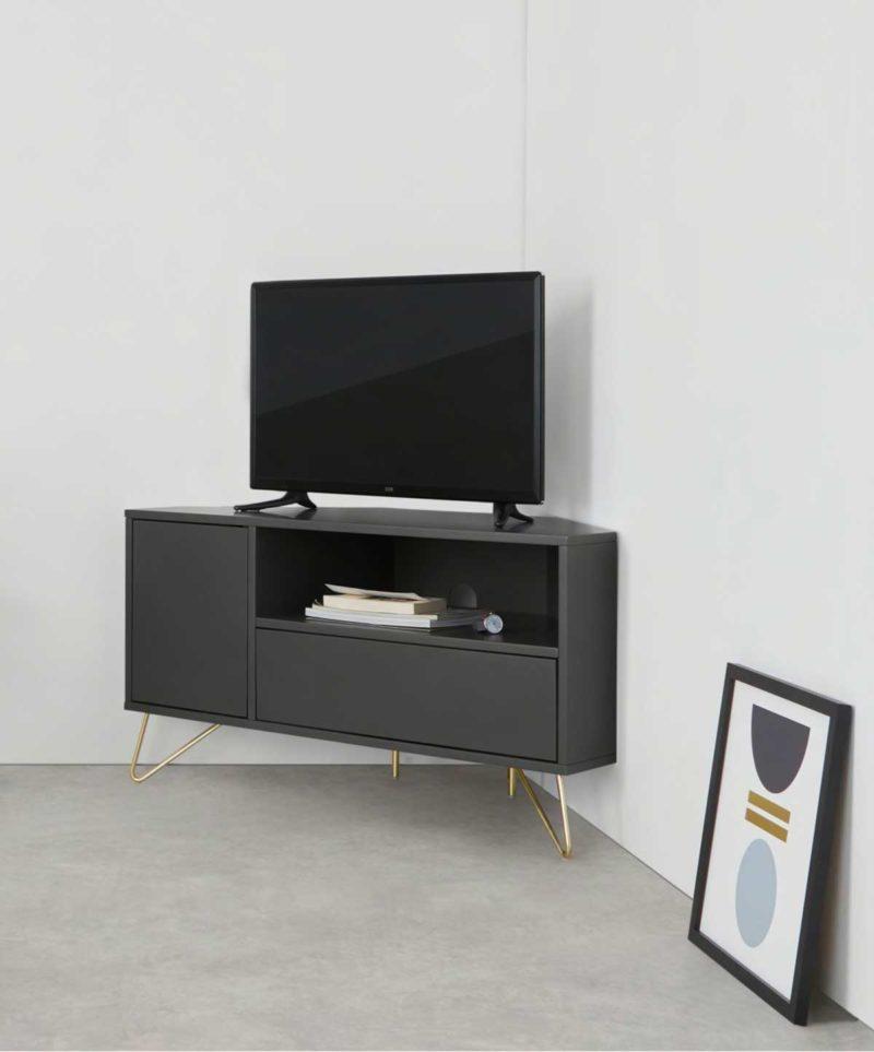 Meuble TV gris foncé pour angle