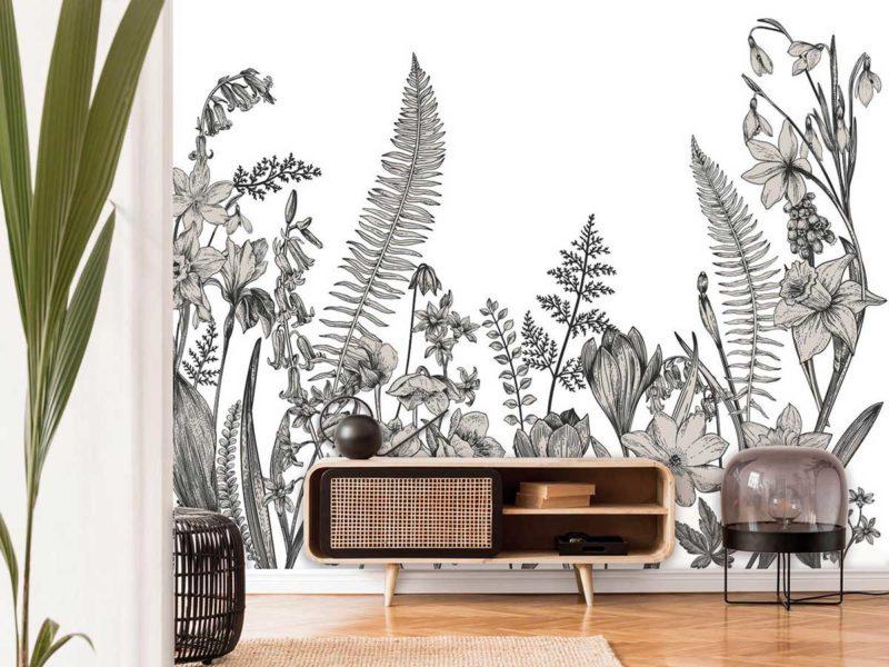 Mur avec fresque esprit jungle
